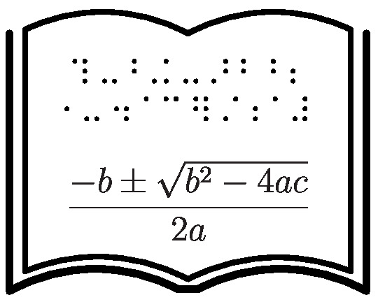 Diagram of a book with braille symbols and the quadratic formula